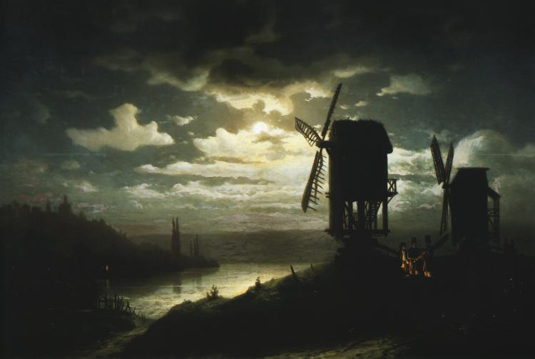 Nocturnal Landscape and Windmills