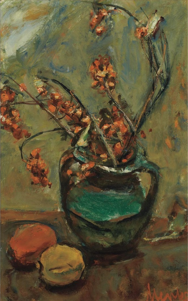 Berry Branches in a Green Pitcher