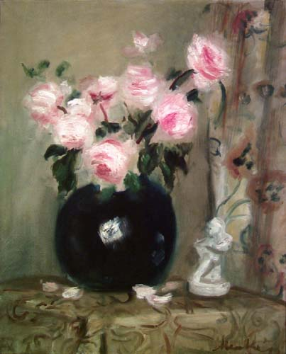 Black Vase with Roses