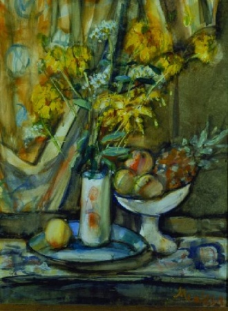 Still Life with Flowers, Peaches and a Pineapple
