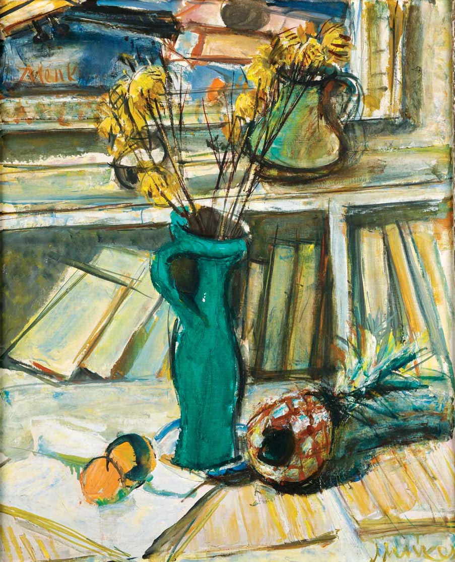 Still Life with Flowers, Green Pitcher and Books