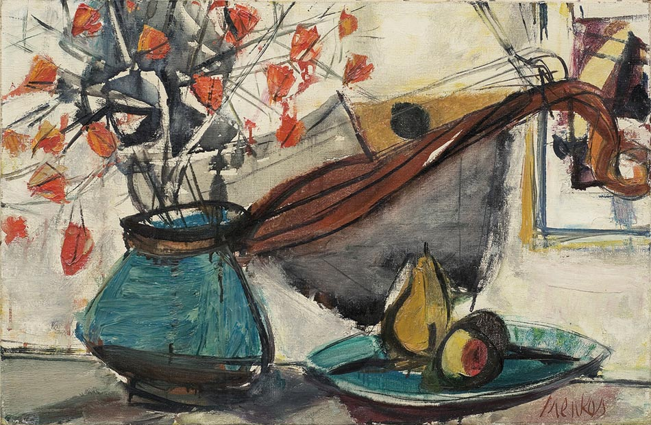 Still Life with Chinese Lanterns, Table Fruits and Mandolin