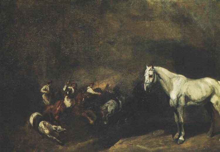 Battle of Light Cavalrymen and a Study of a Horse