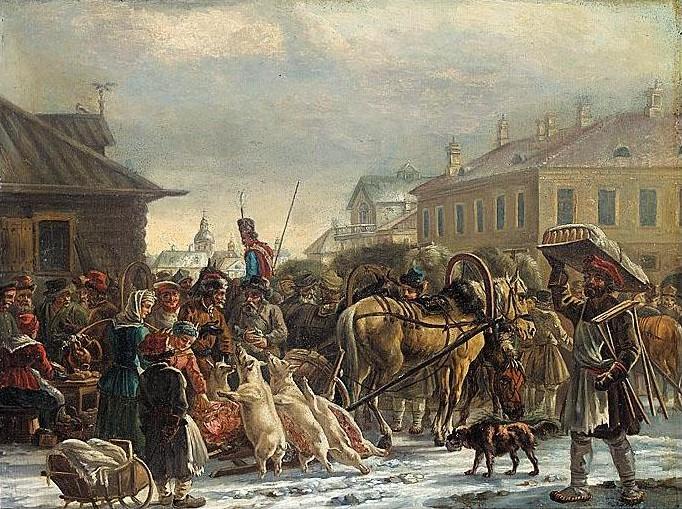 Rynek sienny sankt petersburg ok 1820 olej na tekturze 42 x 54