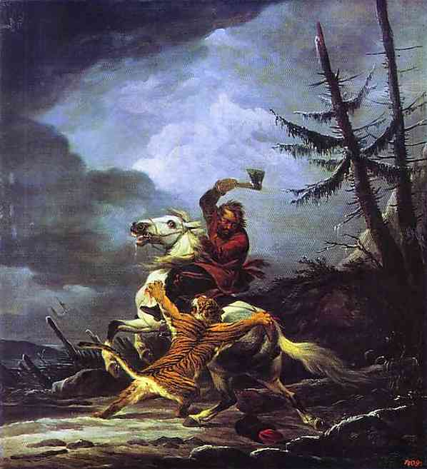 Cossack Fighting off a Tiger