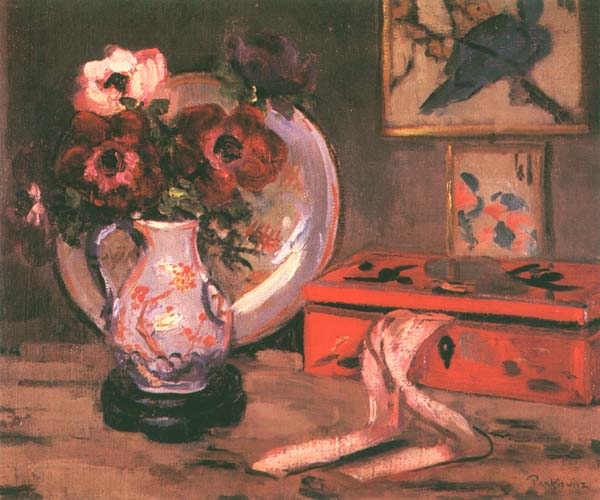 Still Life with Anemonies and a Red Jewellery Box