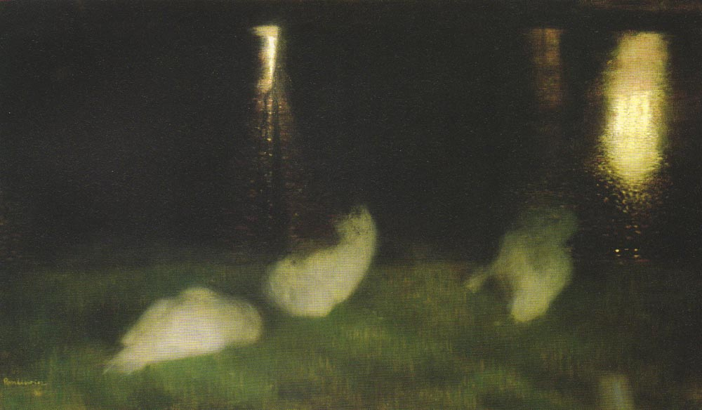 Nocturne - Swans in the Saski Garden at Night