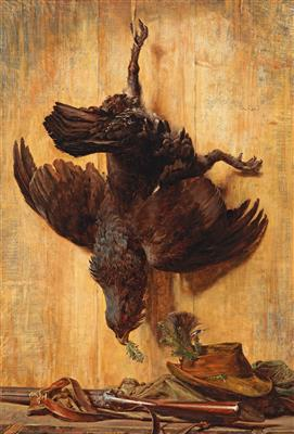 Hunting Still Life with Capercaillie, Shotgun and Hunter's Hat