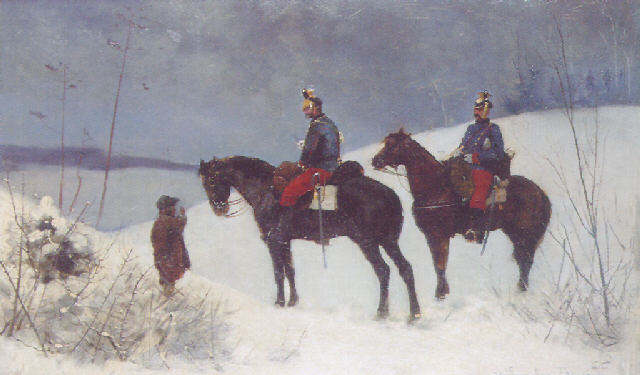 Army Officers Riding Through the Snow