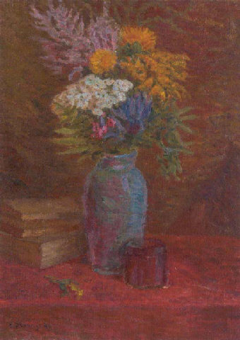 Summer Flowers in a Coloured Glass Vase
