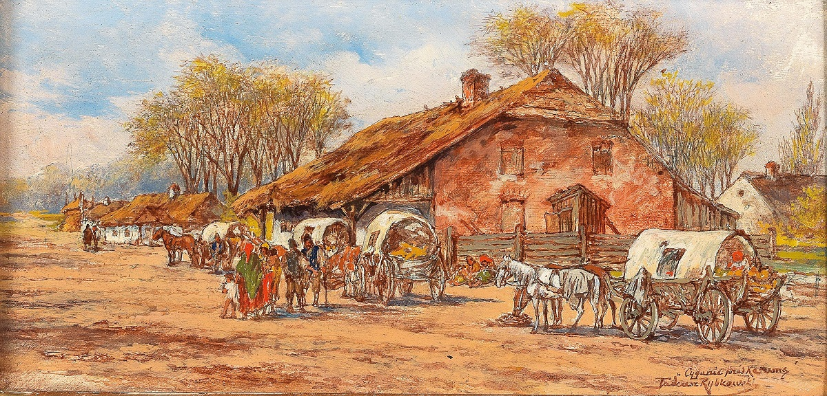 Horses and Carts in a Polish Village
