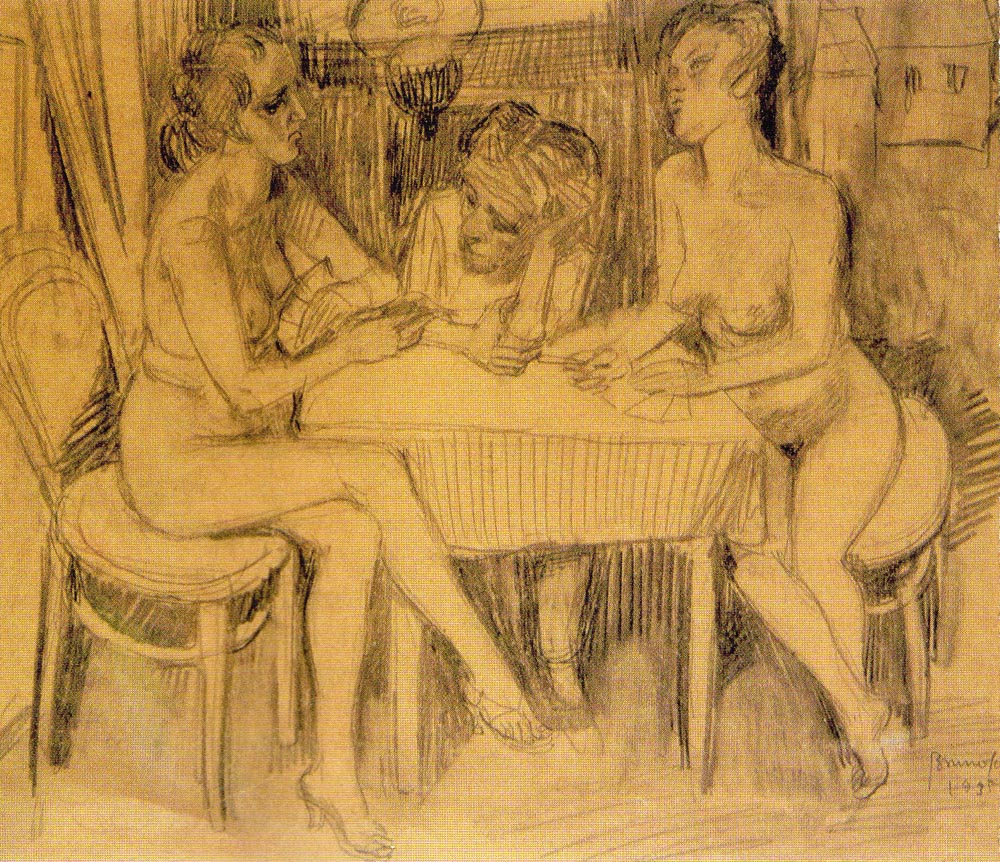 Man between Two Naked Women at the Table