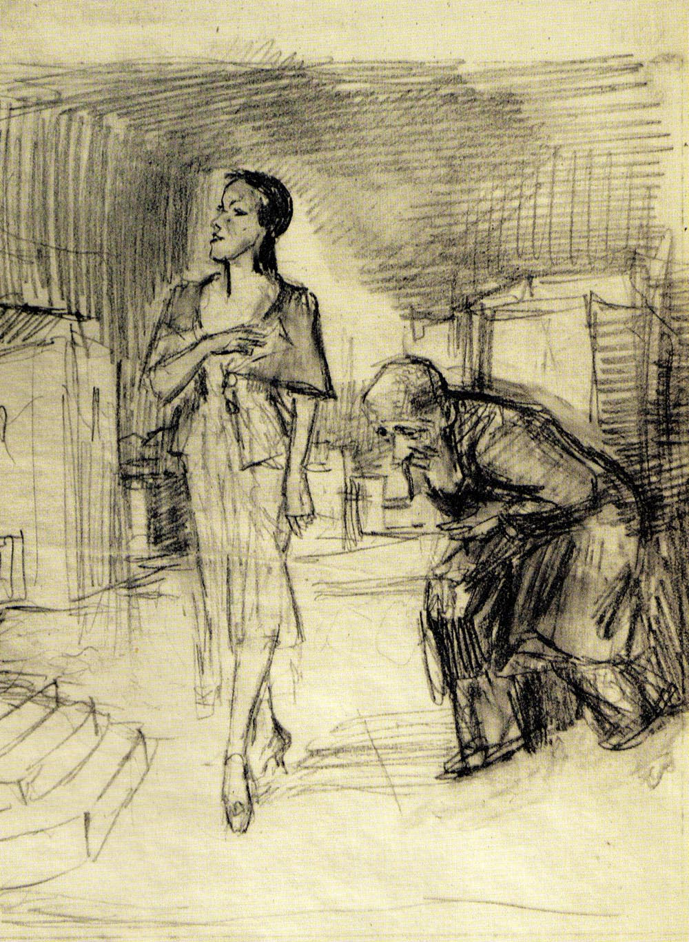 Woman and a Bowing Old Man