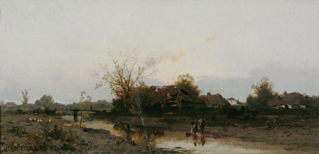 Autumn Landscape with Cottages