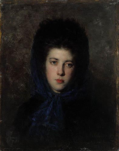 Portrait of a Woman in a Blue Shawl