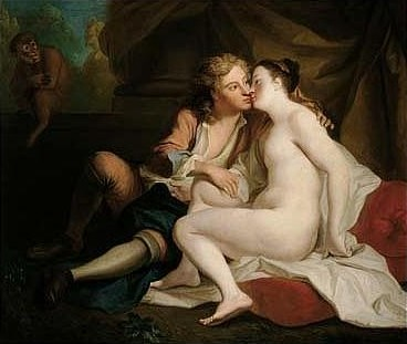 Youth Kissing an Unclad Young Woman