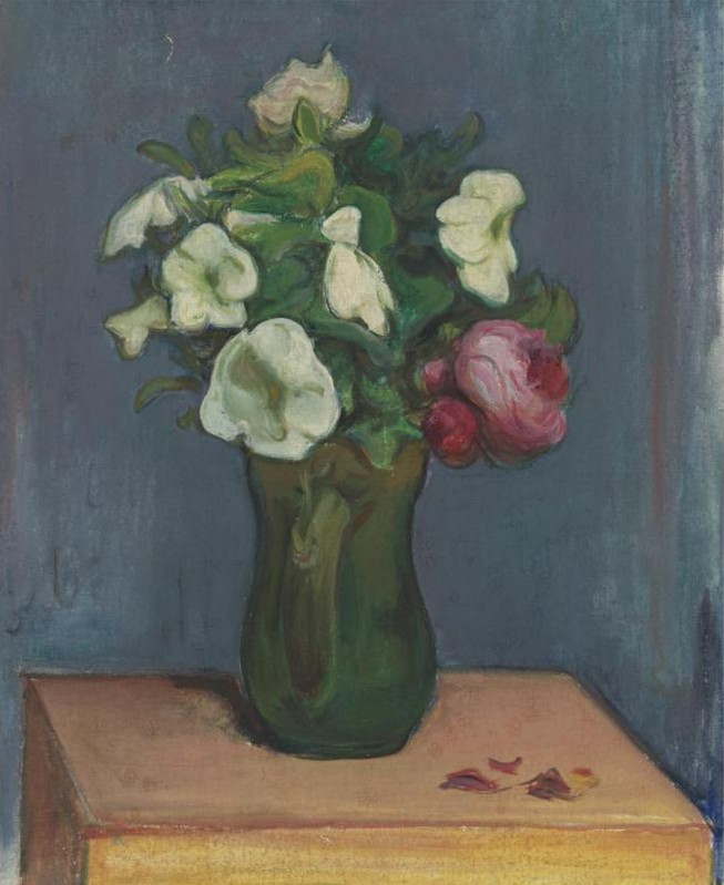 Jug of White Flowers and a Rose