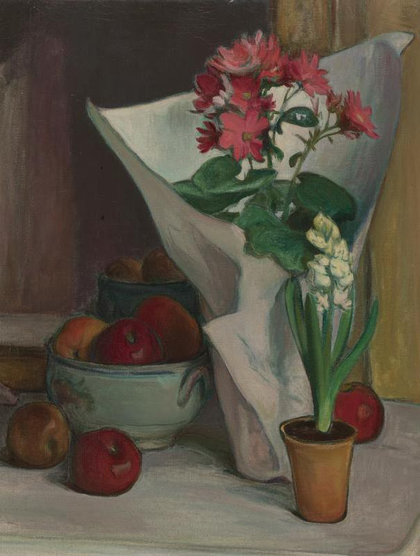 Apples and Flowers in White Paper