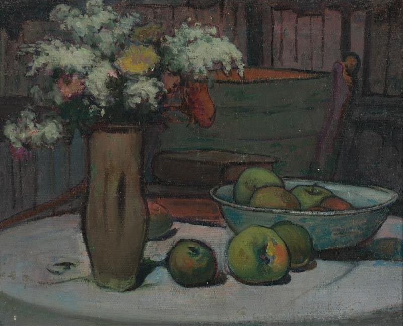 Flowers and Apples on a Round Table