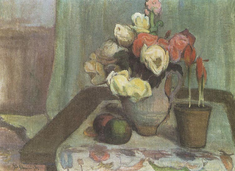 Still Life with a Vase of Flowers and a Pot of Tulips