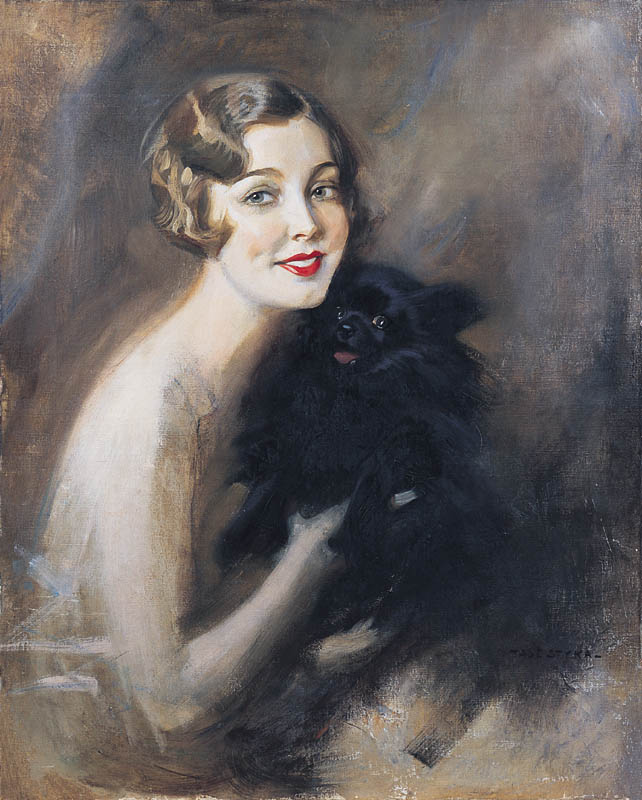 Portrait of a Lady with a Black Dog