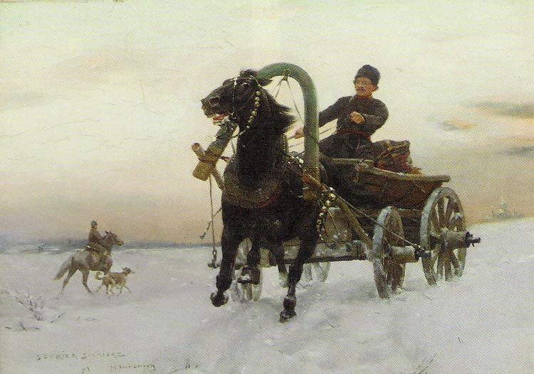 Trader in a Horse-Drawn Cart in the Snow