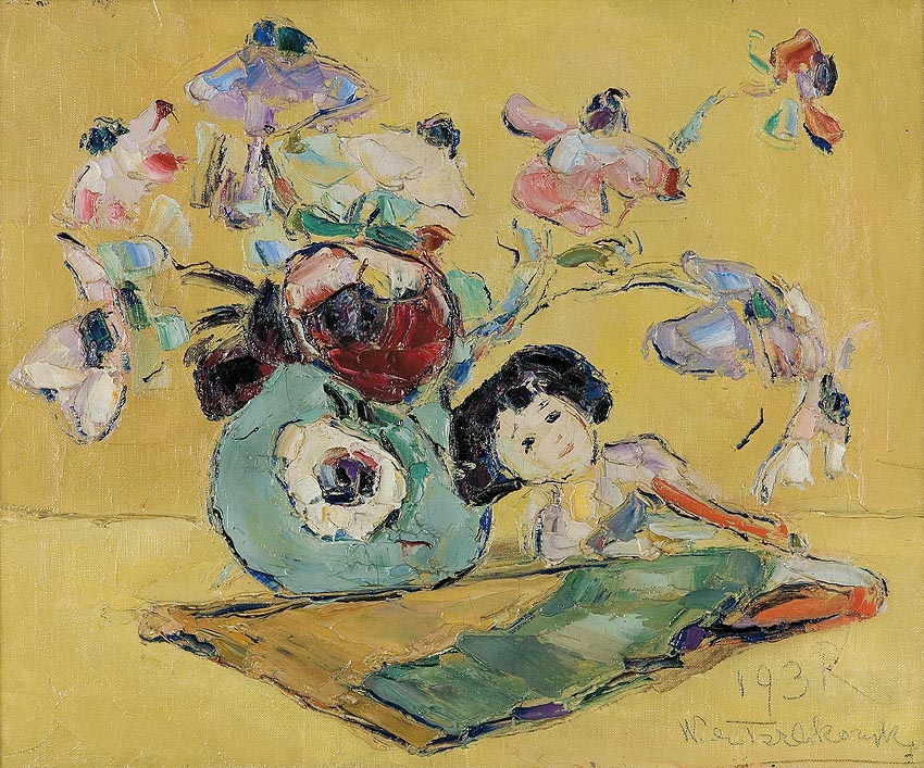 Anemones and a Japanese Doll