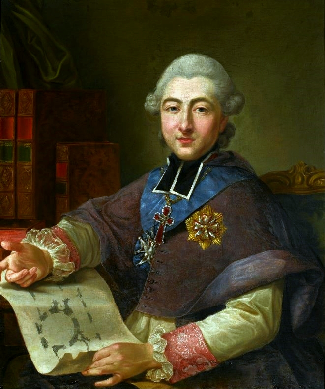 Portrait of Primate Michal Poniatowski with a Plan of Jablonna Palace in his Hand