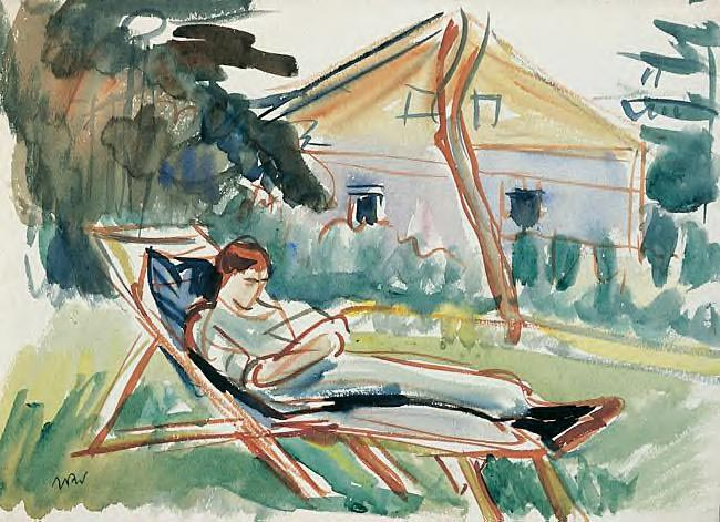 Aneri Lying in a Deck Chair in Front of the House in Kalwaria