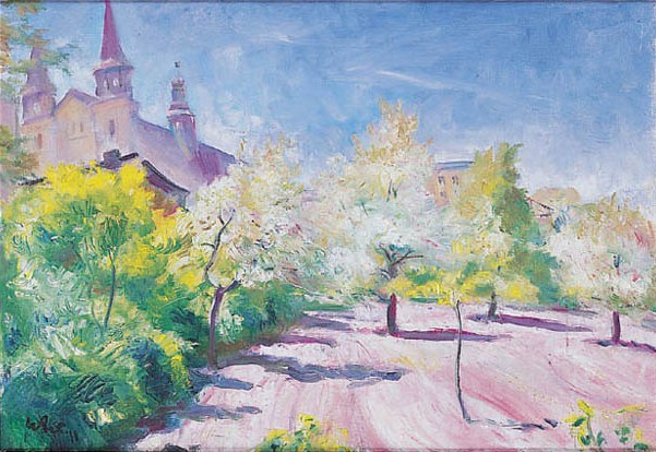 Spring Orchard with a Church