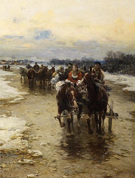 Polish Peasants in their Horse Carts