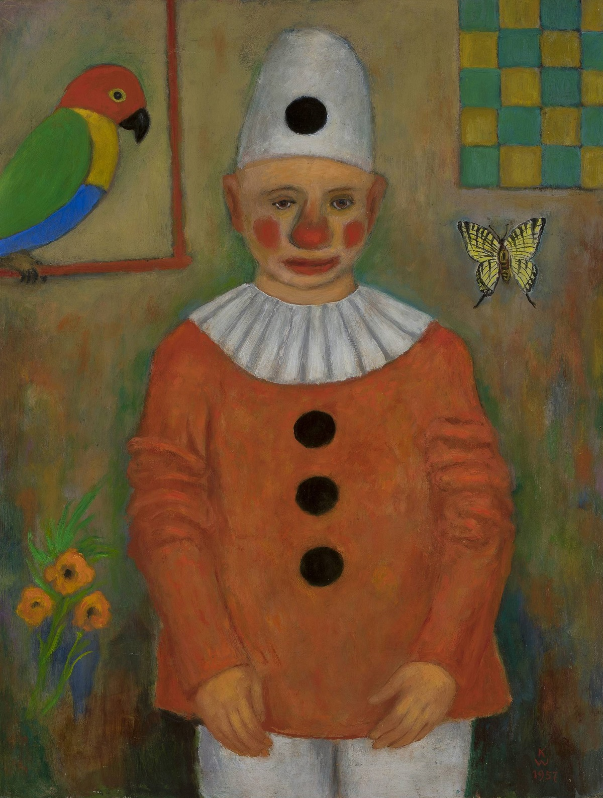 Clown with a Parrot
