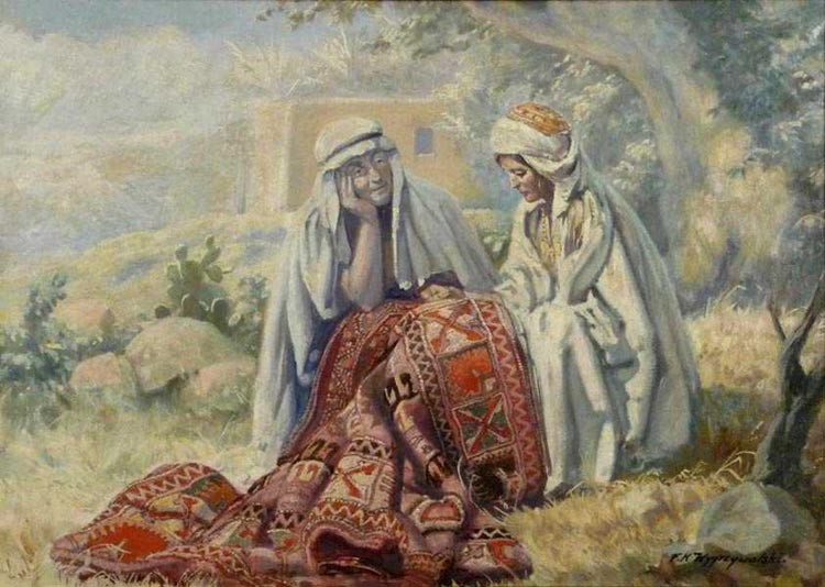 Arab Woman Mending Carpet