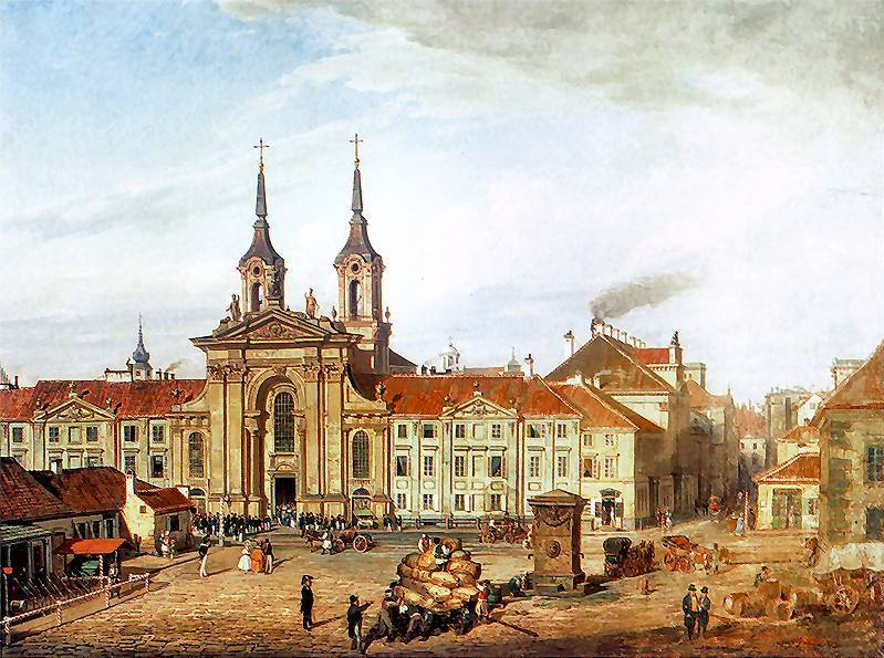Krasinski Square with the Piarist Church in Warsaw