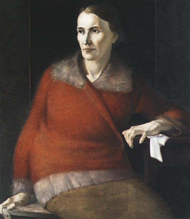 Portrait of a Woman Wearing a Red Sweater