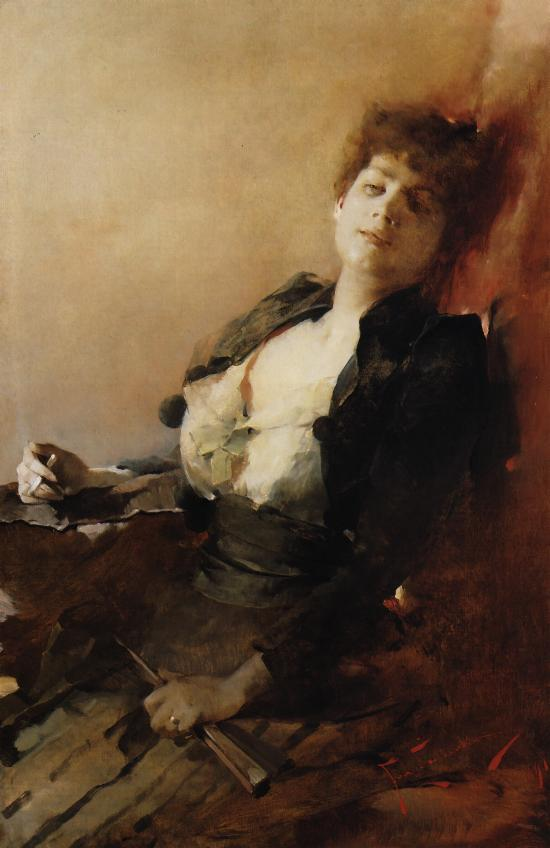 Portrait of a Woman with a Fan and a Cigarette