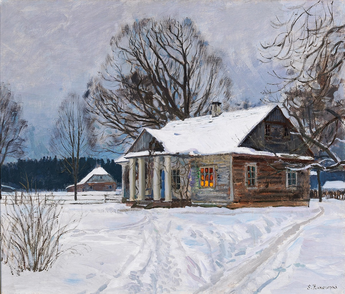 Country House at Dusk in Winter