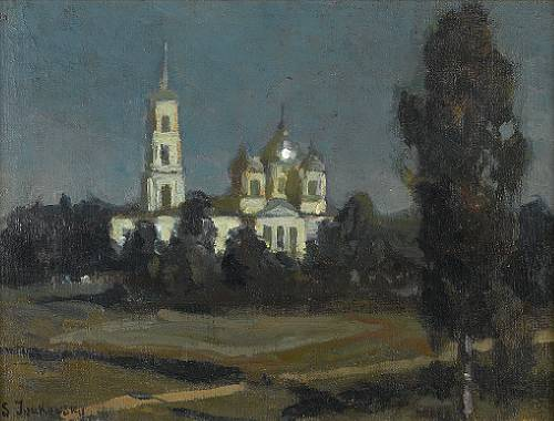 Church Cupolas Bathed in Moonlight