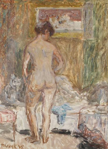 Standing Nude in a Bedrooom Interior